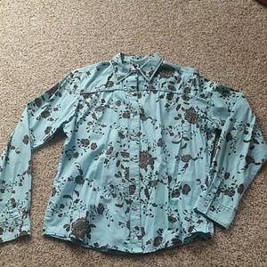 Western ladies fit pearl snap blouse